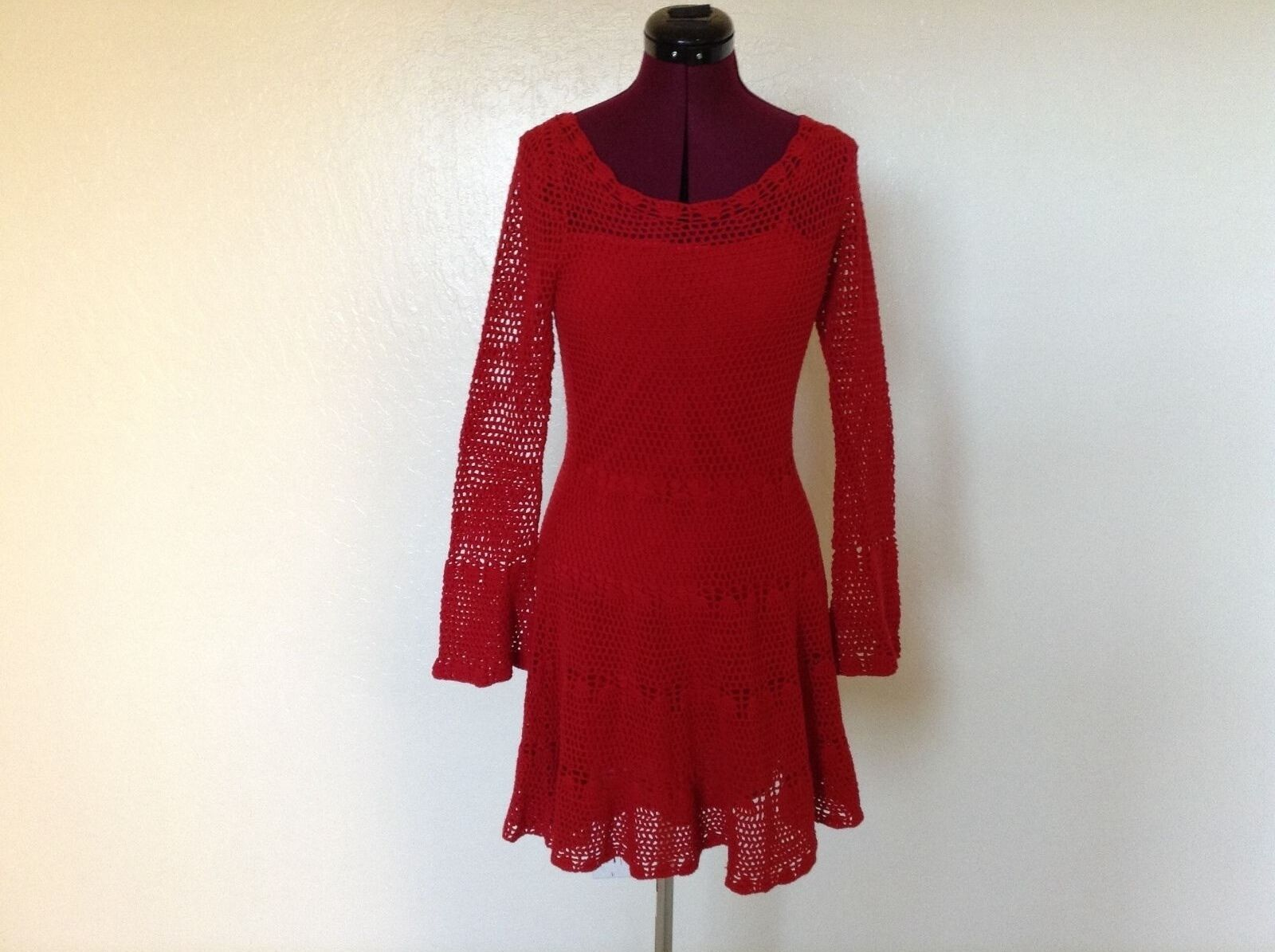 NEW FREE PEOPLE  168 BELLE Sweater Knit DressRedXS