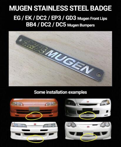 Mugen style stainless steel badge //honda//bumper//lip//dc2//dc5//ep3//bb4//eg//ek//gd//jdm