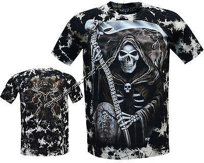 Mens Grim Reaper Skull Death Glow In Dark Biker Tattoo Tye Dye T XL Shirt M