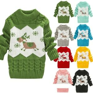 Toddler-Baby-Kids-Girls-Christmas-Deer-Warm-Sweater-Jumper-Knit-Crochet-Clothes