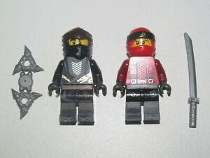Lego-Lot-x2-Minifig-Figurine-Ninjago-Ninja-Kai-Ninja-Cole-amp-Armes-NEW