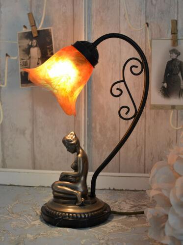 Tischleuchte Nostalgie Lampe Leuchte Glasschirm Vintage Tischlampe Glasschirm