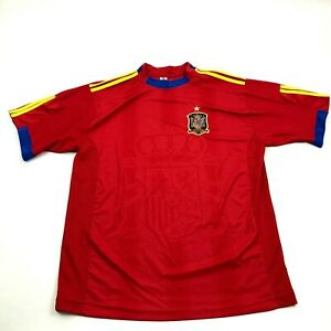 NEW Spain National Soccer Jersey Size L Red Dry Fit Big Watermark Sewn Patch Tee