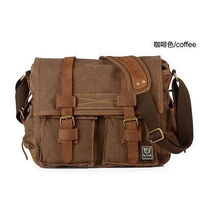 Vintage Men's Canvas Leather Satchel School Military Shoulder Bag Messenger Bag