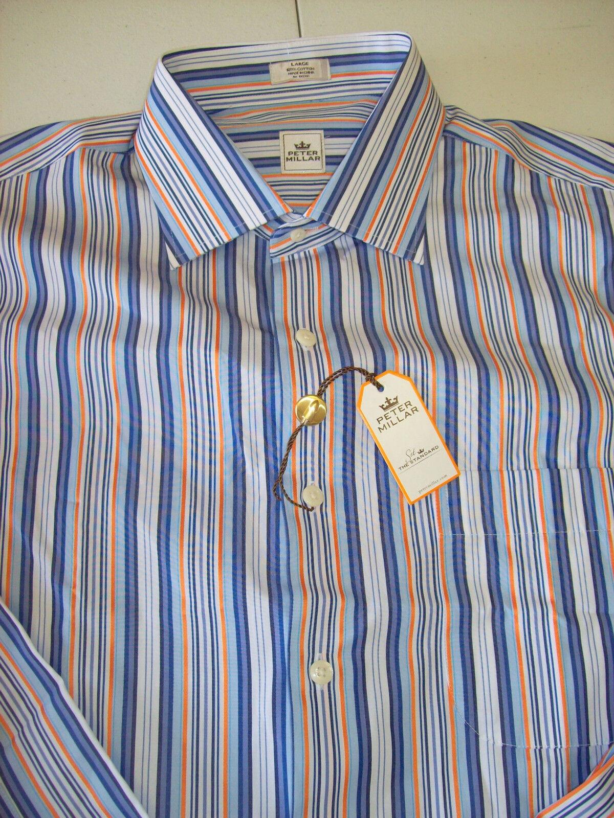 Peter Millar Woven Cotton bluee Striped Shirt NWT Large   Spread Collar