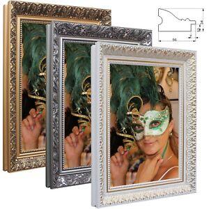 Bilderrahmen-Wien-Holz-Foto-Poster-Rahmen-Antik-Barock-Prunk-Shabby-Gold-Silber