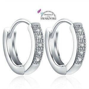 Orecchini-a-cerchio-in-argento-marcato-925-e-cristalli-Swarovski-Originali