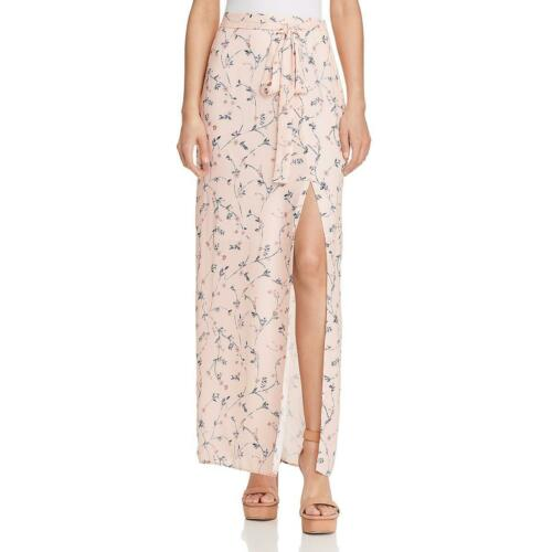 JOA Womens Pink Floral Print Side Slit Day To Night Maxi Skirt L BHFO 9689