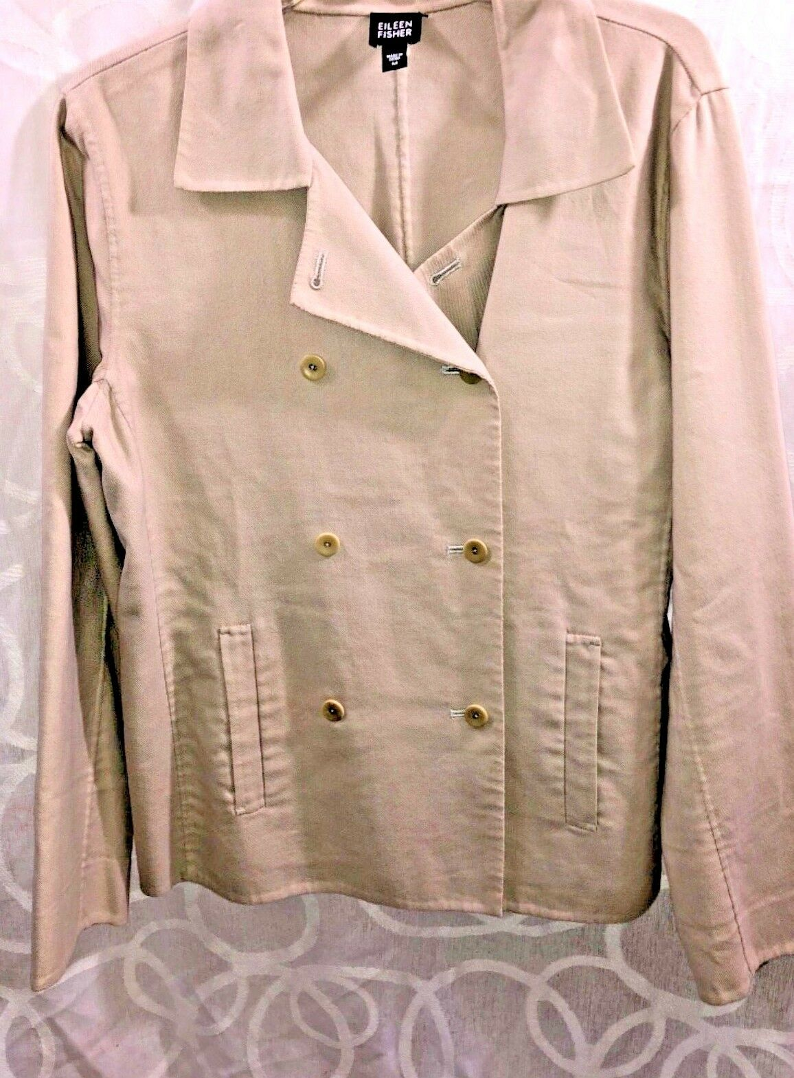 Eileen Fisher Tan Women's Size  M Long Sleeve Double Breasted Button-Up Coat