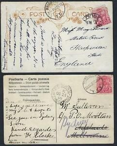 AUSTRALIA-NSW-1906-TWO-POST-CARDS-Sc-112-TIED-OVAL-LOOSE-SHIP-LETTER-TO-ENGLAND