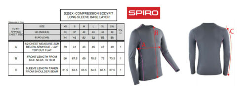 Unisex Long Sleeve Top S252X Spiro Compression Bodyfit Baselayer T-shirt