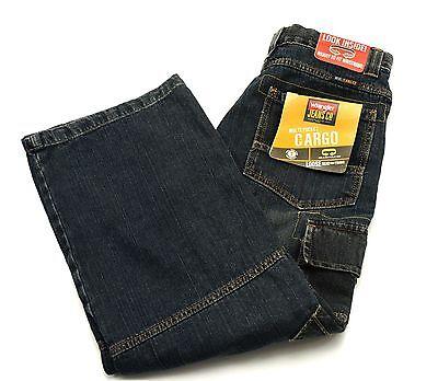 Wrangler Cargo Jeans Boys Size 12 Regular Blue Denim Pants Adjustable Waist NEW