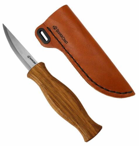 Sculpture sur bois Sloyd couteau pour whittling Roughing Couteau gaine Cuir beavercraft