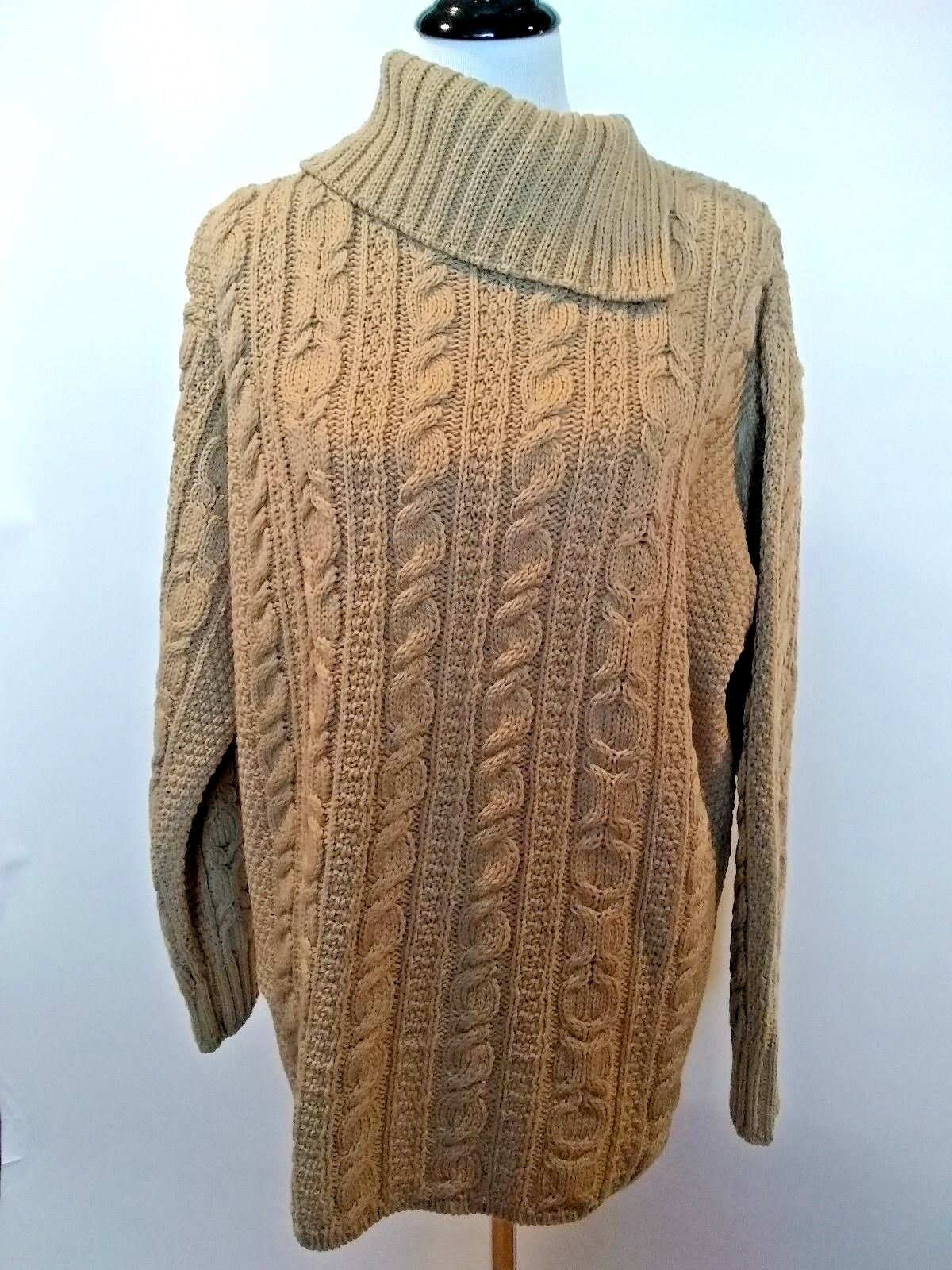 Aran Crafts Womens Brown Cable Knit Sweater Merino Wool Size XL