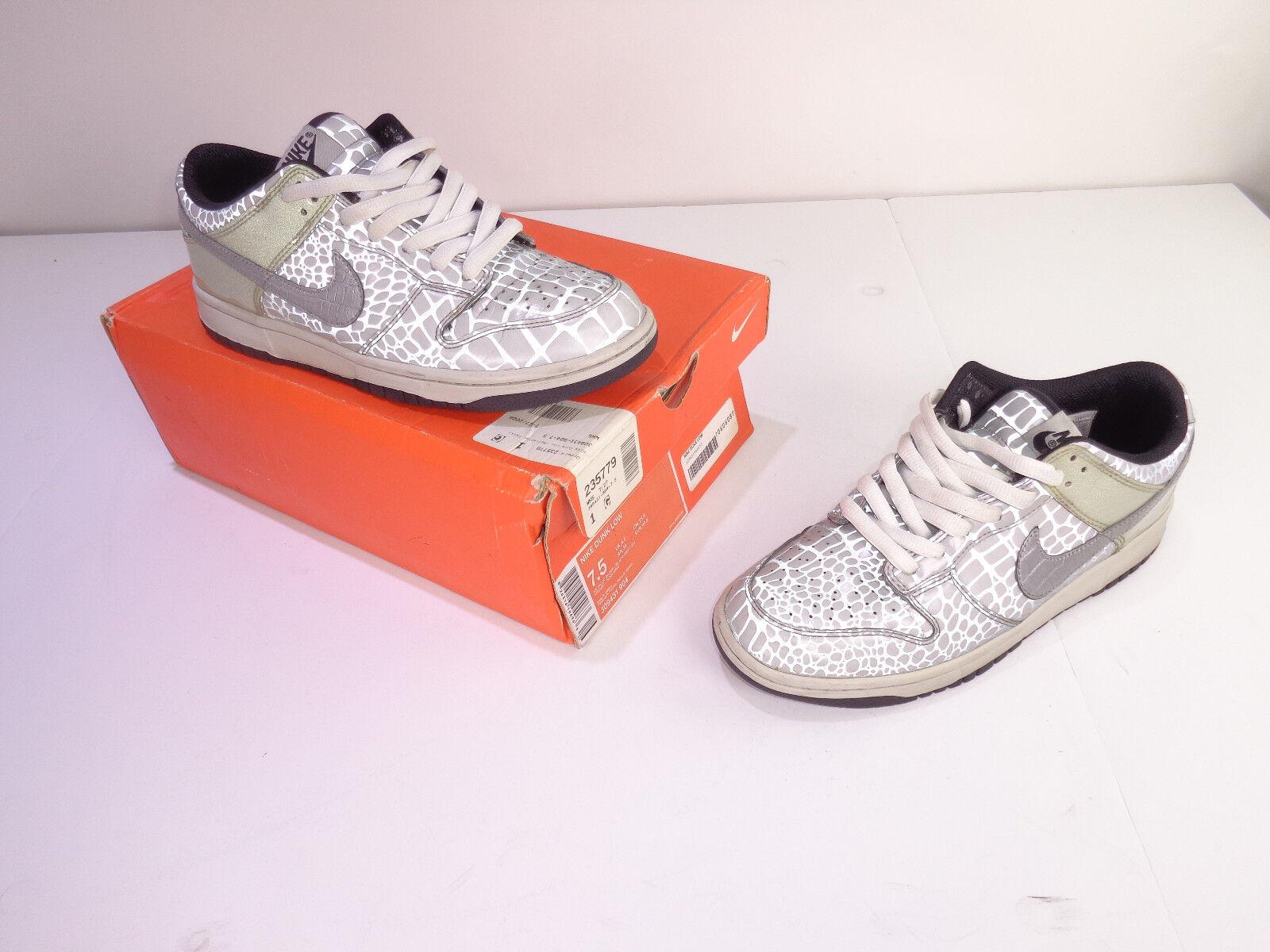 Men's Nike Dunk Low Reflector shoes 309431-904 Metallic Silver Black Grey Sz 7.5