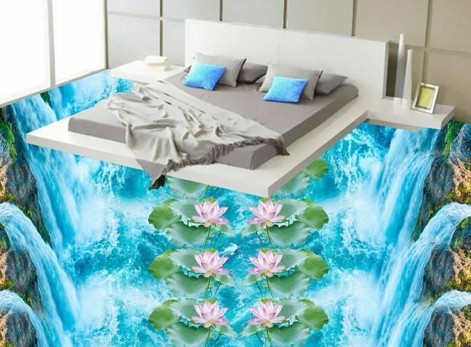 3D Double Row Lotus  Floor WallPaper Murals Wall Print Decal 5D AJ WALLPAPER