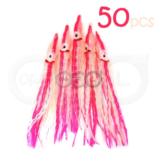 """50pcs Glow Rose 5/"""" Squid jupes Wave Hoochies pêche doux leurre traine Octopus"""