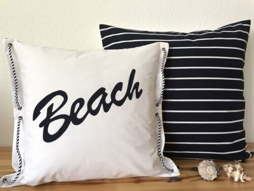 1 Kissenbezug* Maritim Beach weiß//blau 40x40cm.