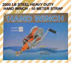 2000-LB-Hand-Ribbon-Winch-Boat-Trailer-Auto-Strap-Towing-Truck-Steel-Heavy-Duty