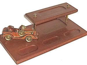 Vintage-walnut-solid-wood-mens-dresser-top-valet-handcrafted-retro-car-brass