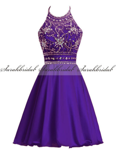 Girls Short Beaded Prom Homecoming Gown Halter Cocktail Bridesmaid Ball Dresses