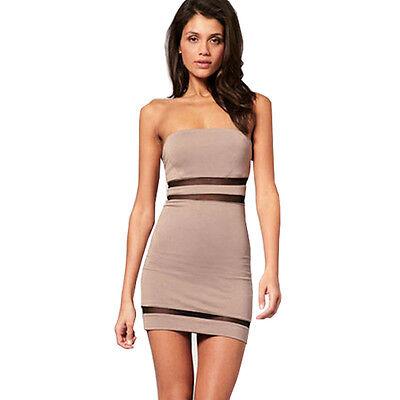 New Mesh Spliced Slim Fit Evening Party Tube Mini Dress E560