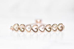 Chocolate-Brown-10K-Rose-Gold-Plated-Beautiful-Tennis-Bracelet-Heart-Bracelet