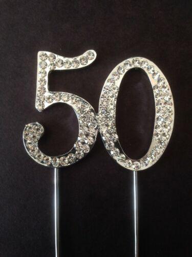 50TH BIRTHDAY SILVER DIAMANTE CAKE TOPPER DECORATION FIFTY 50 TH ANNIVERSARY UK