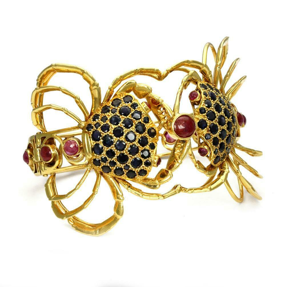 Estate 8 Carats Ruby & Sapphire 18k Yellow gold Double Crab Cuff Bracelet