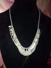 Exquisite Diamante Choker multi Chain Vintage Necklace bridal silver plated