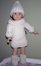 """CROCHET PATTERN COWL NECK SWEATER, HAT & BOOTS - FITS AMERICAN OR 18"""" GIRL DOLLS"""