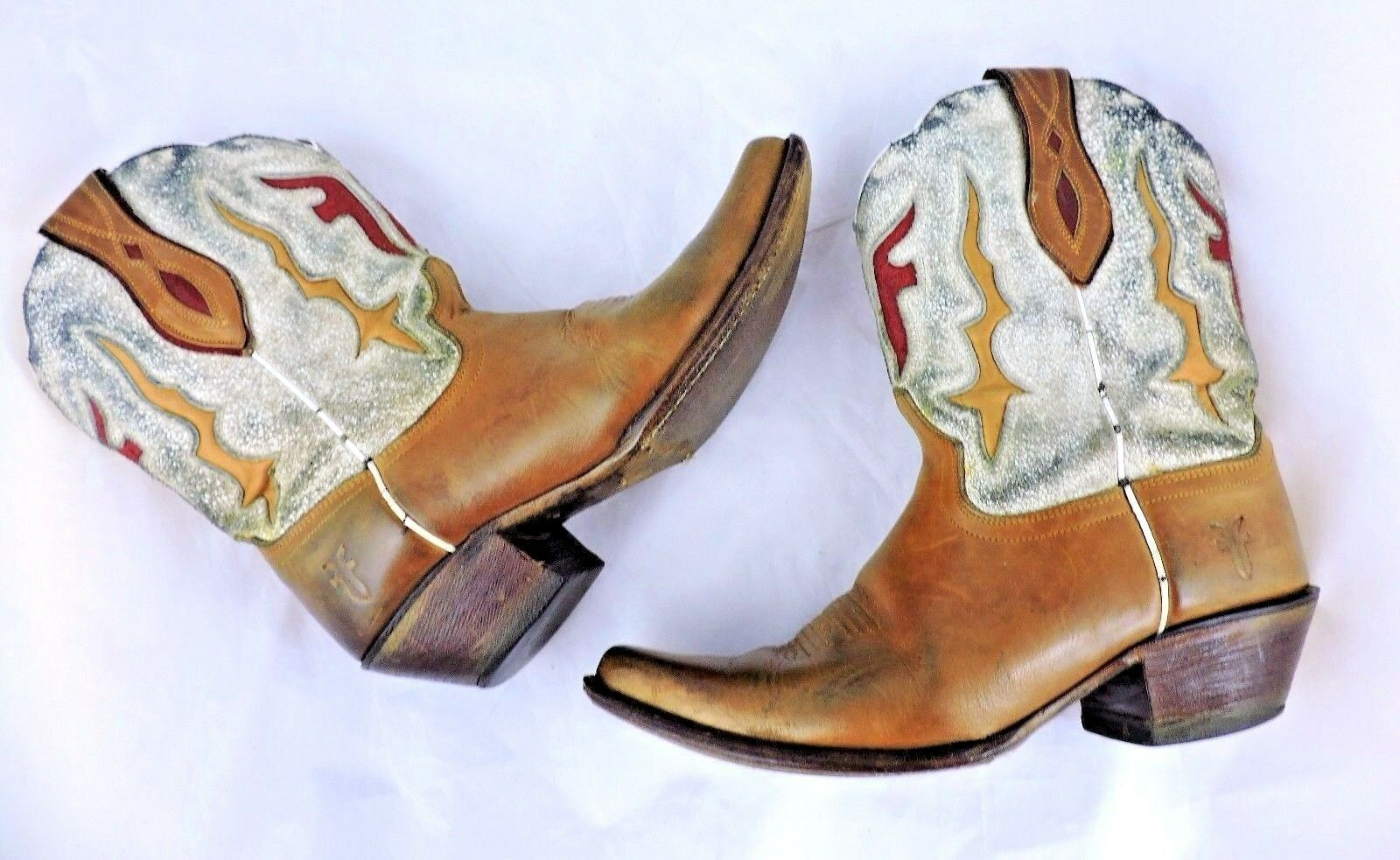 Frye Damenss tan Stiefel cowboy western 7 distressed Leder tan Damenss cream pointed Lilly f9d2be