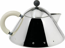 Alessi Stainless Steel Teapot White Ivorine (Cream) Handle MG33WI