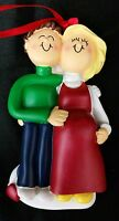Personalized Pregnant Couple Christmas Ornament Holiday Male Brown Female Blonde