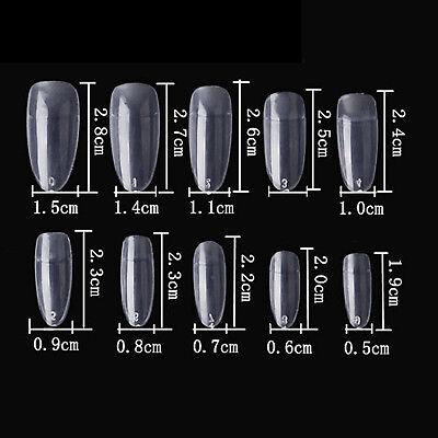Clear 600pcs Oval Round Shape Design Half  False Nail Tips Acrylic UV Gel Salon