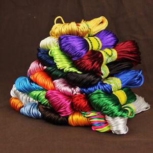 20M-2mm-Rattail-Satin-Silk-Cord-Nylon-Macrame-Beading-kumihimo-String-Solid