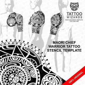 Maori-Polynesian-Chief-Warrior-Tattoo-Stencil-Template