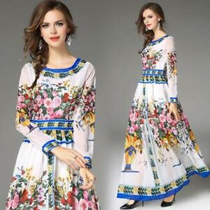 Womens-Full-Length-Ball-Gown-Floral-Dress-Maxi-Swing-Holiday-Chiffon-Print-Slim