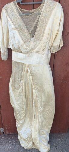antique wedding dress 100% silk lace victorian edw