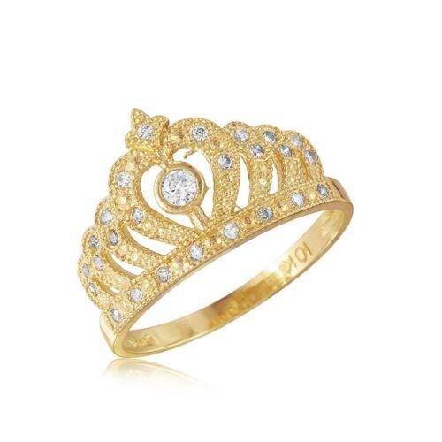 14K Solide Or Jaune Zircone cubique Crown Ring-ROYAL poli bande Femmes Filles