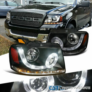 04-08 Ford F150 Black SMD LED Halo Projector Headlights+Rear Tail Brake Lamps