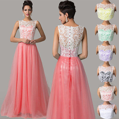 Hot Sale Lace Applique Long Maxi Bridesmaid Gown Prom Formal Party Evening Dress