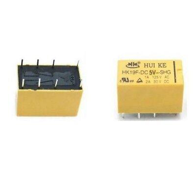 1PCS DC 5V Coil DPDT 8 Pin 2NO 2NC Mini Power Relays PCB Type HK19F
