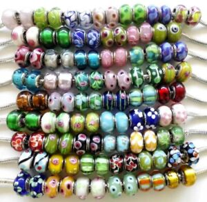 50-Lampwork-Big-Hole-Round-Beads-for-European-Charm-Bracelets-Assorted-Designs