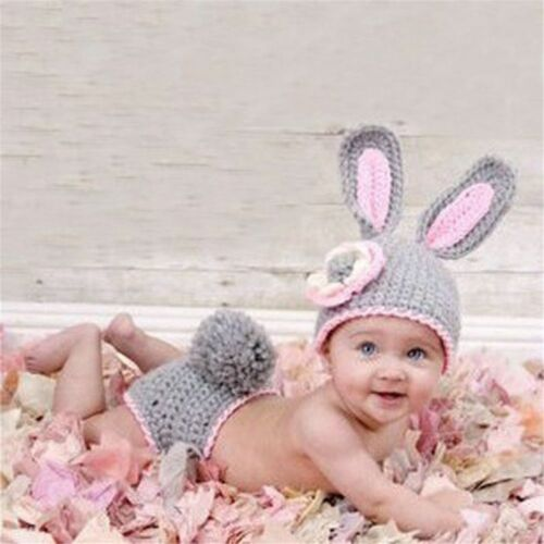 Baby Crochet Photography Props Shoot Newborn Costumes Infant Beanies Pants Set