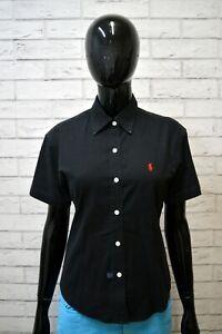 Camicia-RALPH-LAUREN-Donna-Taglia-XL-Blusa-Manica-Corta-Cotone-Nero-Slim-Hemd
