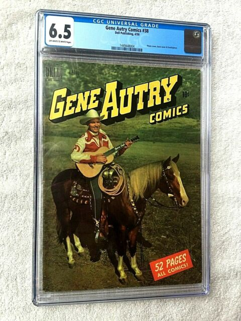 Gene Autry Comics #38 DELL Apr 1950 cgc 6.5 off-wh/Wht Pgs Photocover Front/Rear