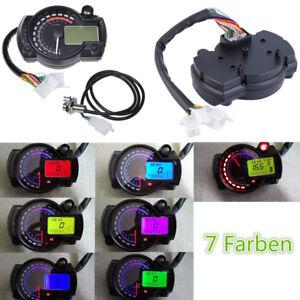 7 Farben 15000RPM Digital Tachometer Kilometerzähler Drehzahlmesser Motorrad ATV