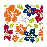 5 Wall Pops Island Fusion Hibiscus Hawaiian Flowers Blue Decor Decals Stickers