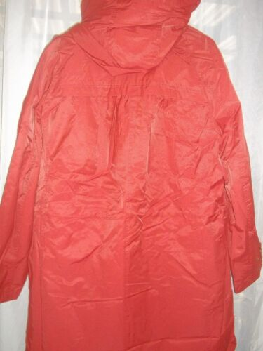 Jessica London Hooded Parka with Faux Fur Trim Red Ochre Size 22